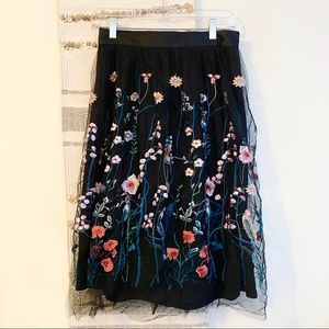 H&M Floral Overlay Tulle Midi Skirt Lined Zip 8